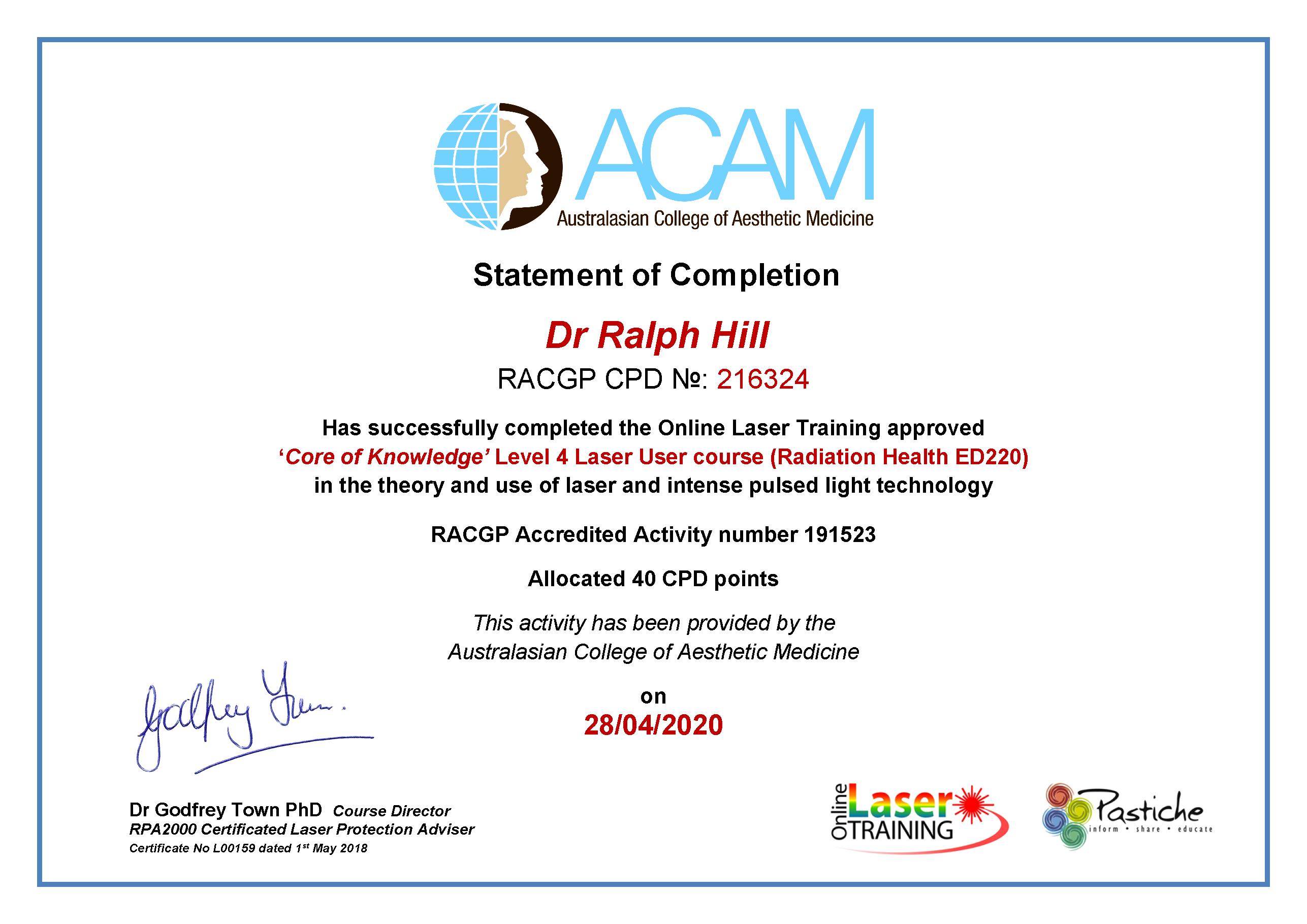 Example RAGCP certificate